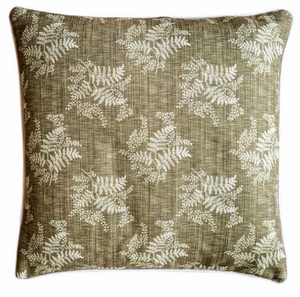 OLIVE LINEN LEAVES CUSHION COVER