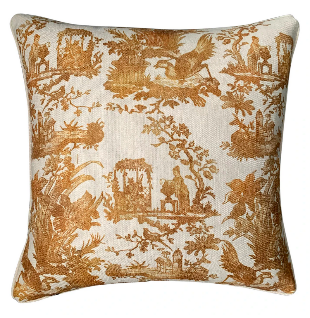 GOLD TOILE CUSHION COVER