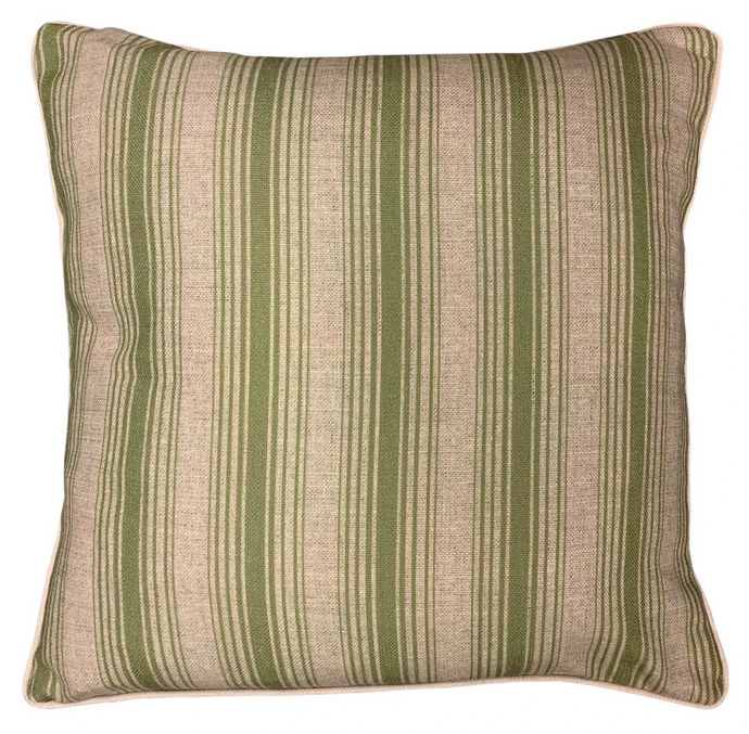LINEN AND GREEN STRIPE CUSHION COVER