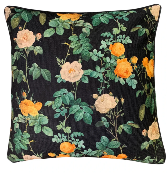 NOIR BLOOMS CUSHION COVER