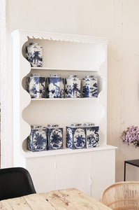 BLUE AND WHITE - OFFSET HEXAGONAL GINGER POTS