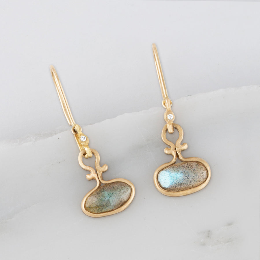 Dew Drop 14k Gold Horizontal Labradorite & Diamond Earrings