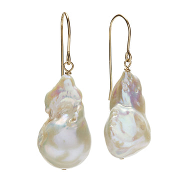 Baroque Earrings - Gold/ White