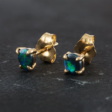 Opal Green Flash Earring Studs