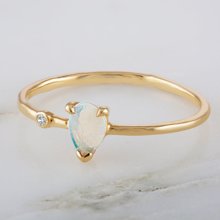 Opal Pear Diamond Wink 14K Ring