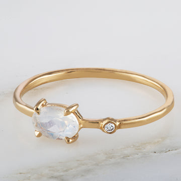 Opal Oval Diamond Wink 14K Ring