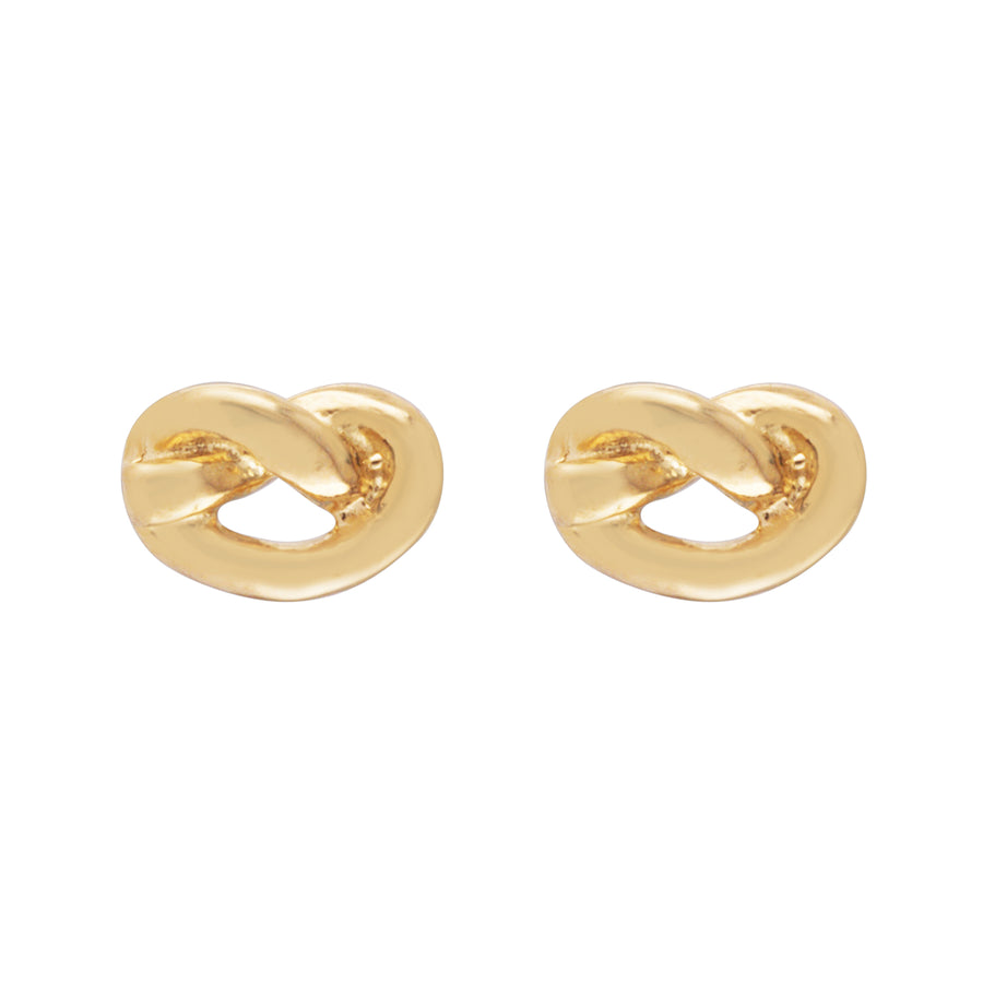 Love Knot Stud 14K Yellow Gold Earrings