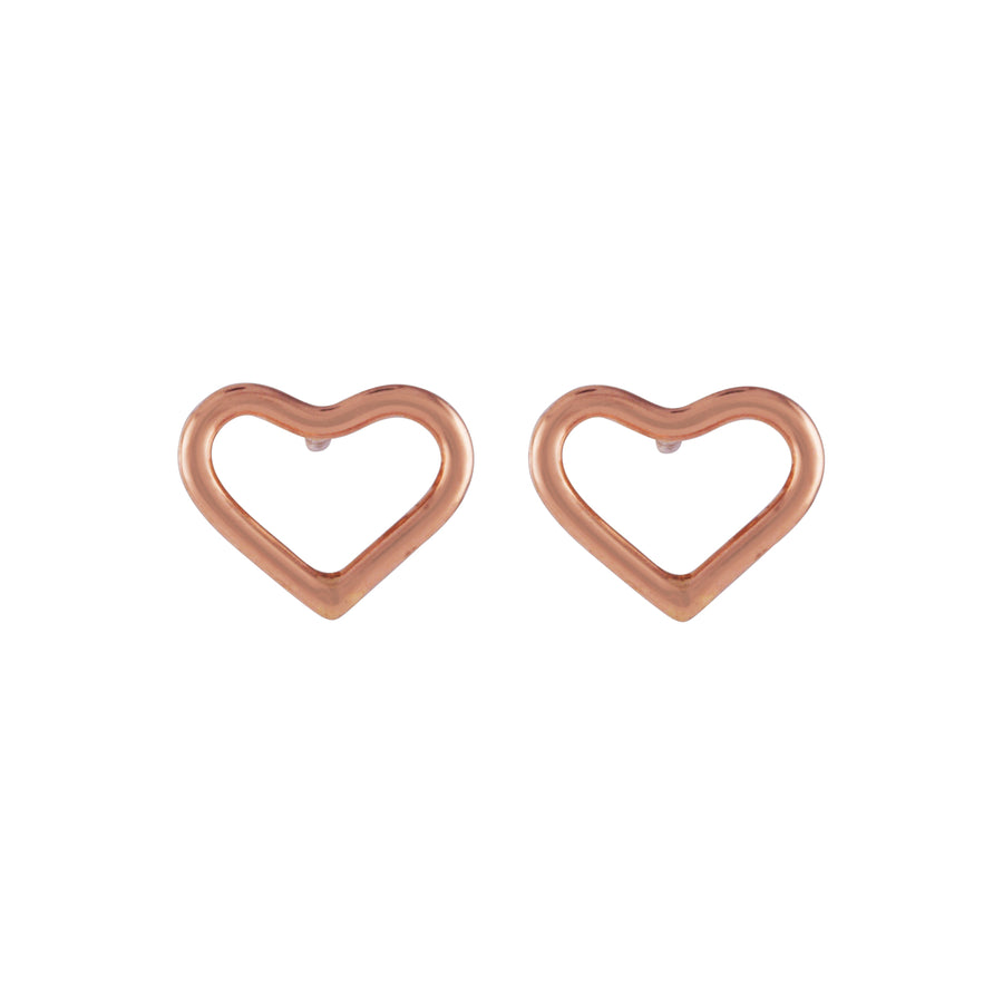 Silhouette Heart Studs Rose Gold