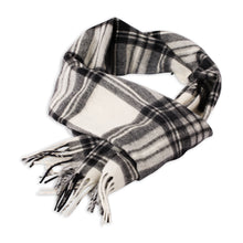 Load image into Gallery viewer, Pearl/Coal Plaid Scarf