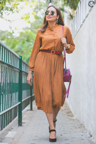 Polka Dot Midi with Contrasting Belt