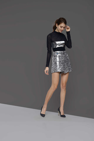 Lori Silver Pleather Shorts