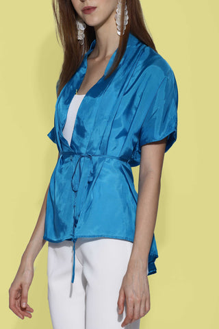 Serenity Asymmetric Wrap Silk Top