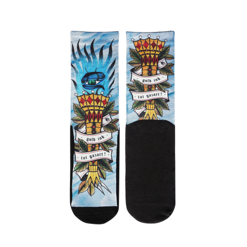 Socks ICE FIRE Tattoo FRONT BACK
