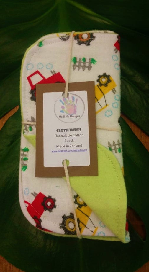 Cotton Flannelette 3-Pack Wash Cloths