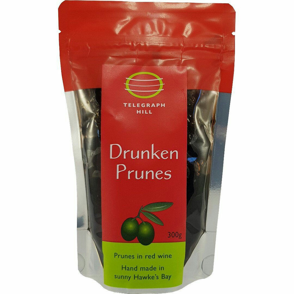Red package of prunes in red wine