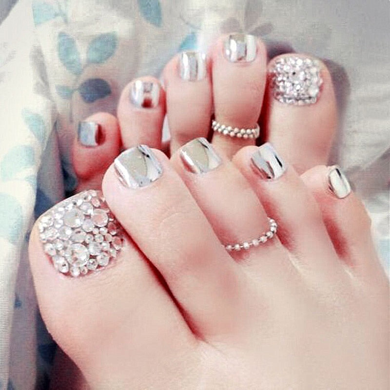 24 pcs summer Beauty Chic Toe Nail Metallic silver  High Quality False Nails with rhinestone