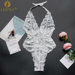 LOPNT New sexy lingerie black white floral lace halter teddy sexy babydoll backless deep-V plus size bodysuits erotic underwear