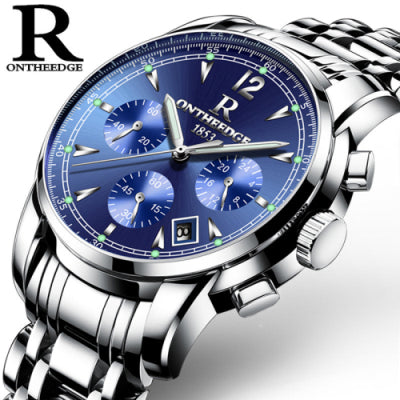 Mens Luxury Stainless Steel Waterproof Wristwatch
