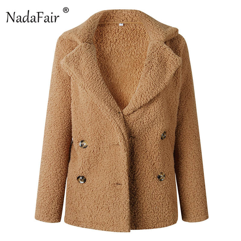 Nadafair plus size fleece faux fur jacket coat