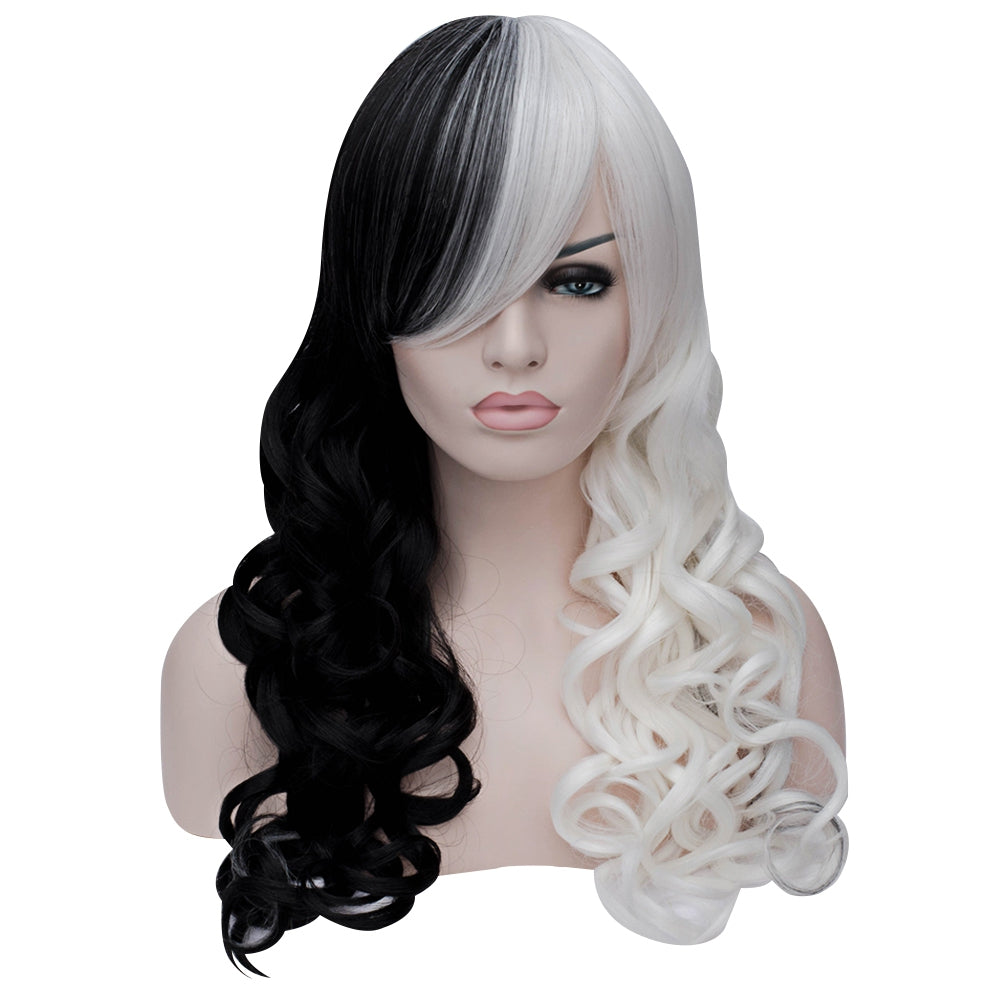 Sexy Long Curly Black White Full Wigs Heat-resistant Synthetic Cosplay Hair