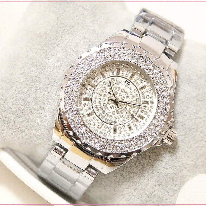 New 2017 Fashion Casual Rhinestone Dial Gift Watch Women Steel Quartz Wristwatche Gold Silver Bracelet Dress Ladies Watches