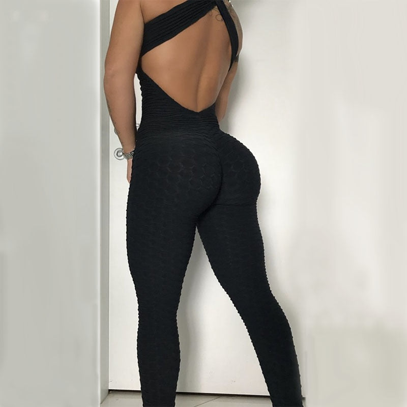 Jacquard Weave Jumpsuits Fitness Knitted  Elastic bodysuit