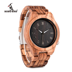 SALE!!! ONLY 200 LEFT.. BOBO BIRD WM30 Mens Watches Zebra Wooden