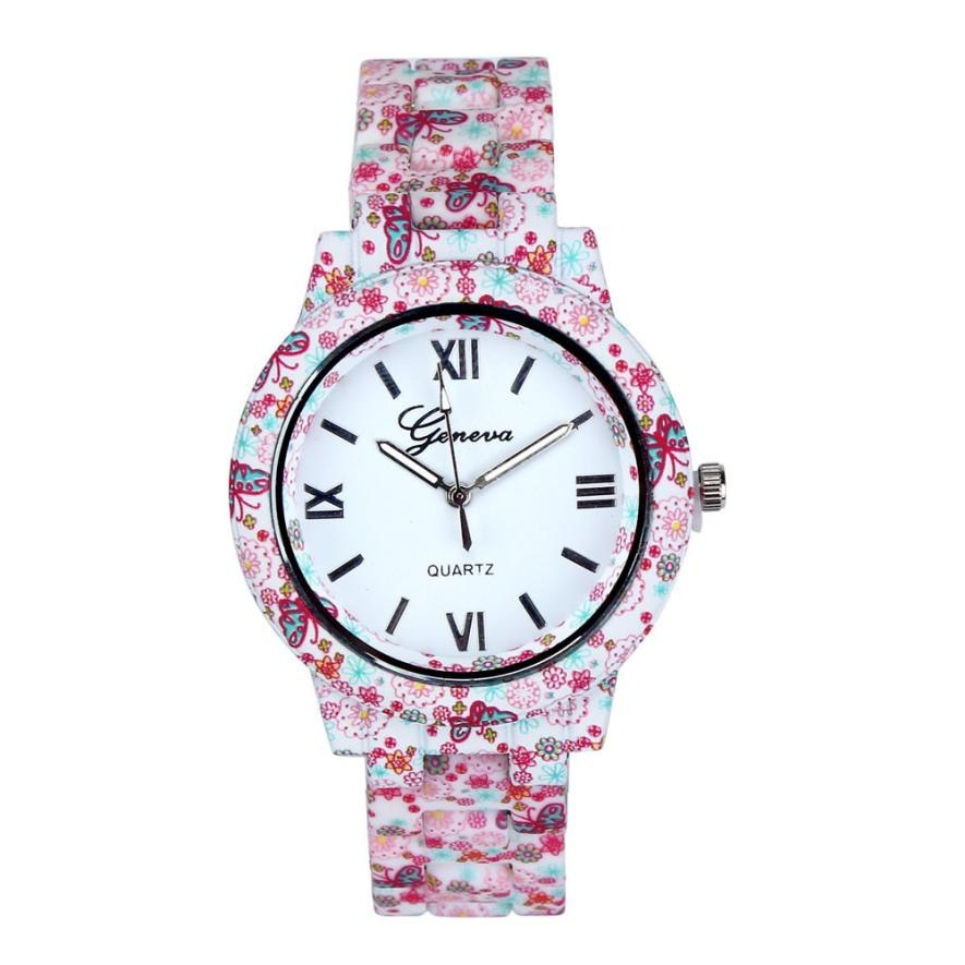 Imitation Porcelain Watch Women Men Floral Printed Band Analog Wrist Watches Ladies Bracelet Clock Quartz Watch Relogio #LH