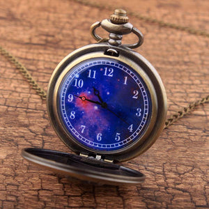 Retro Antique Bronze Little Prince Pocket Watch Vintage Fob Quartz Clock With Chain Necklace Pendant Gift For Children Boy