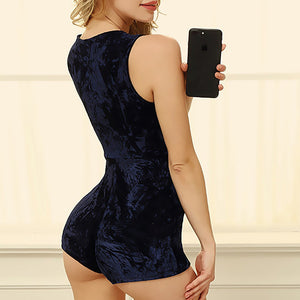 Deep V Neck Velvet Playsuit Sexy Evening rompers