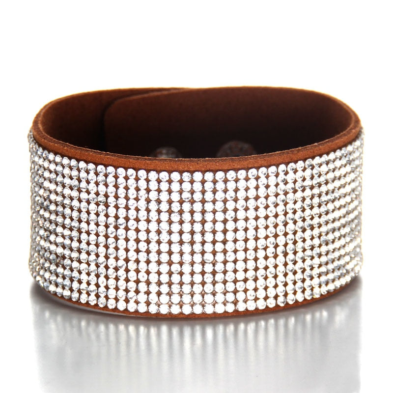 Natural Crystal Bracelet  Genuine Leather Bangles For Women With Magic Closure Jewelry