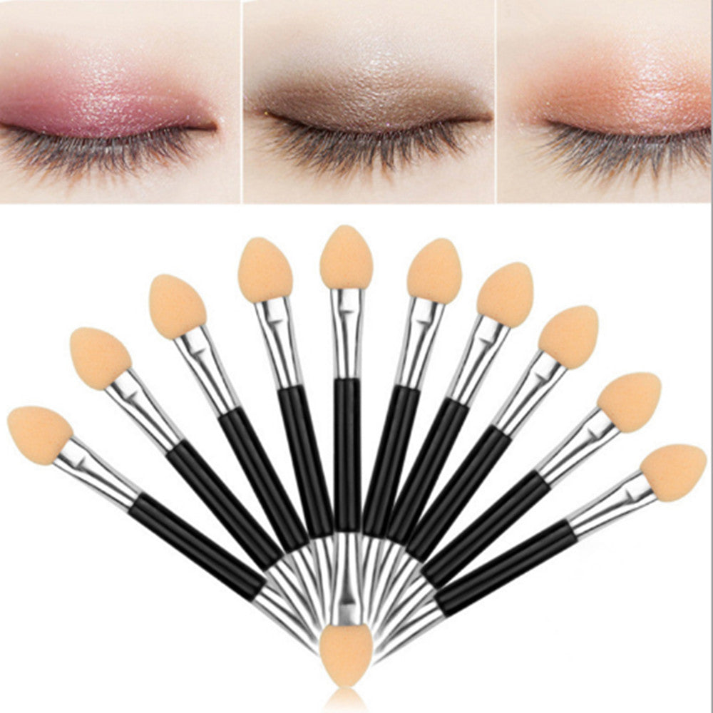 12pcs Eyeshadow Applicator Pro Sponge Double Ended Make Up Supplies Portable Eye Shadow Brushes Nail Mirror Powder Brush