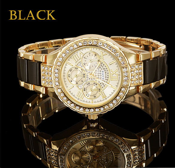 Quartz Watch Women Round Bracelet Watch Ladies Stainless Steel Fashion Gold Silver Designer Style Crystal