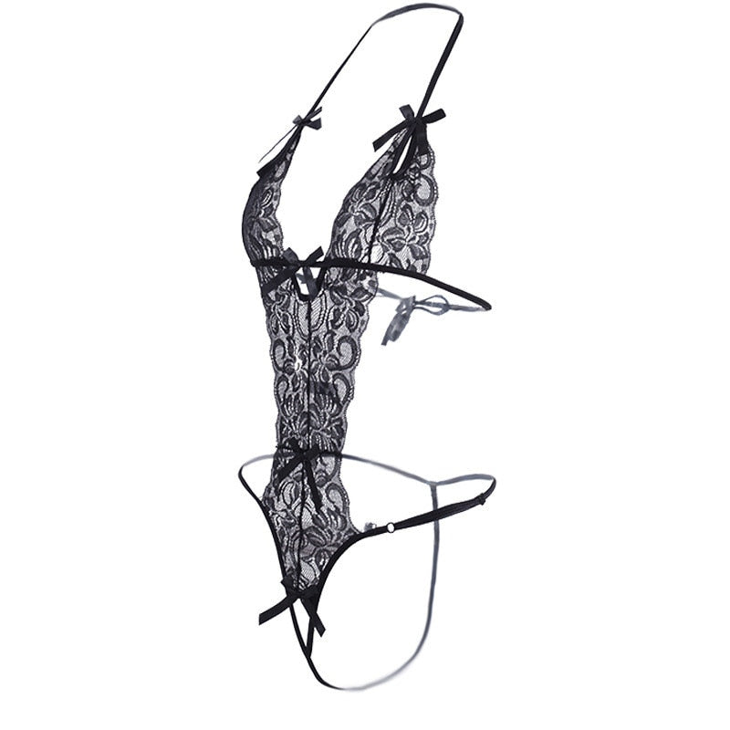 Lace Transparent Teddy Baby Doll Sexy Lingerie For Women Hollow Out Open Crotch Sex Underwear Fantasias Sexy Erotic Costumes