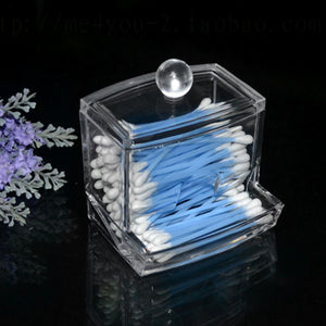 Home Bathroon Acrylic Crystal Cotton Bud Storage Box Clear Cotton Pad Storage Holder Make Up Cosmetic Organizer Box Container