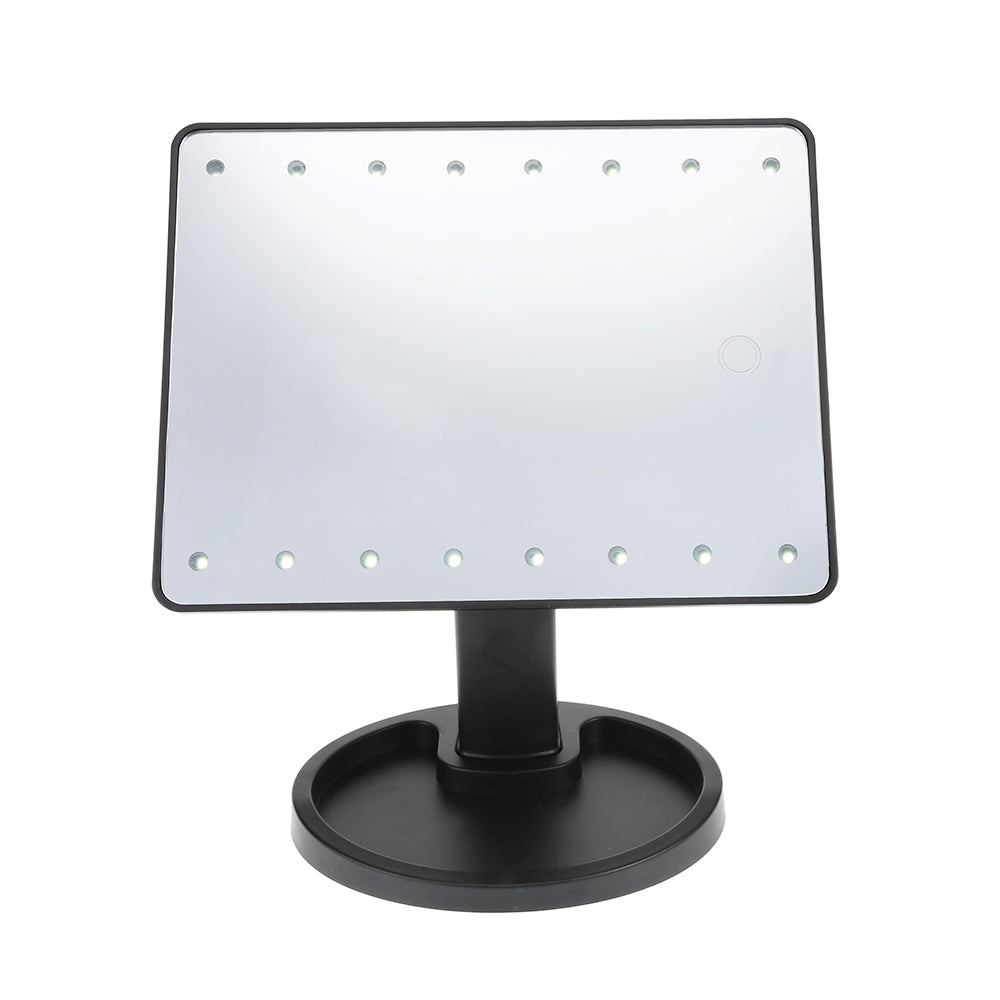 360 Degree Rotation Touch Screen Desktop Makeup Mirror With 16 / 22 Led Lights