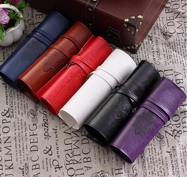 Vintage Retro Leather Make Up Cosmetic  Pencil Roll Bag