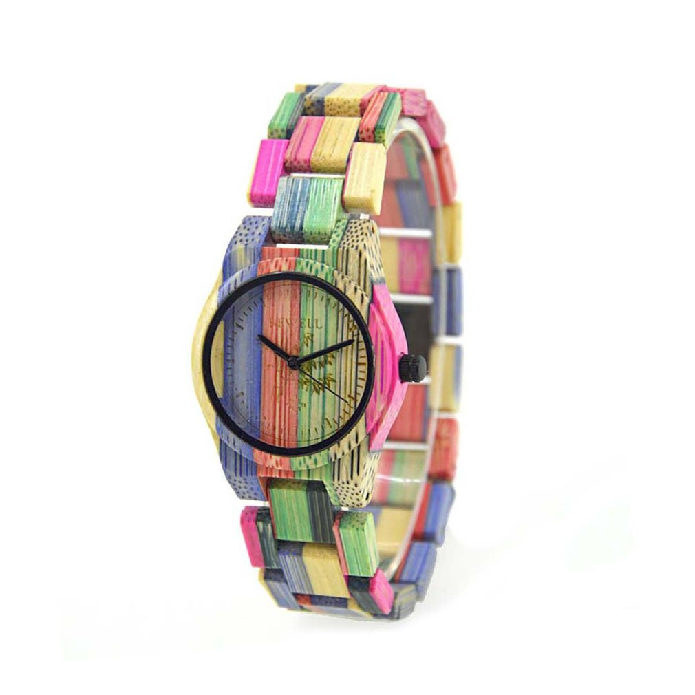 BEWELL Unisex Colorful Bamboo  Watch