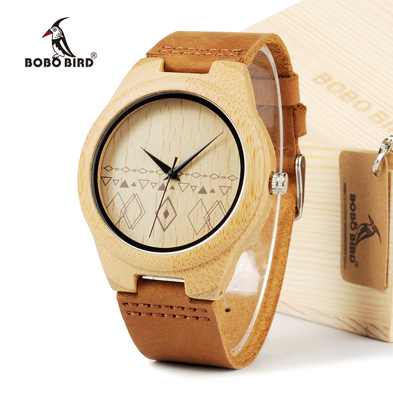 BOBO BIRD Handmade Bamboo Wooden Watch Japanese Movement Quartz Watch with Real Brown Leather Strap For Gift