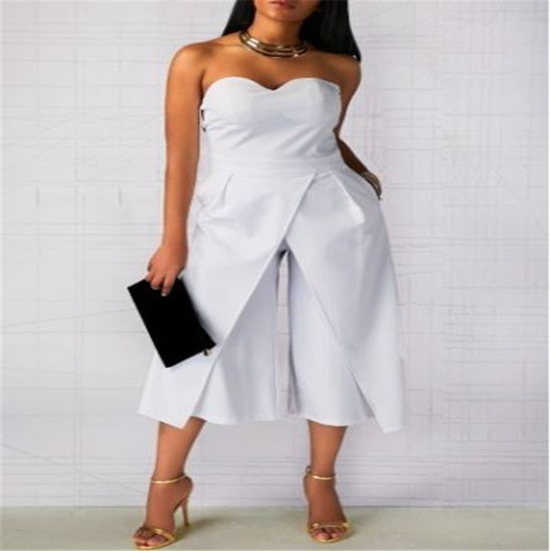 Backless Off Shoulder  Plus Size Jumpsuit Romper  S-2XL