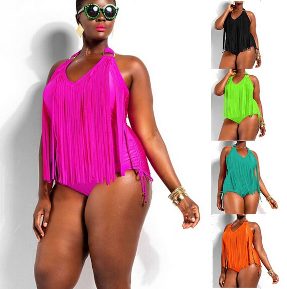 2XL 3XL 4XL Plus Size Fringe Black  One Piece Swimsuit