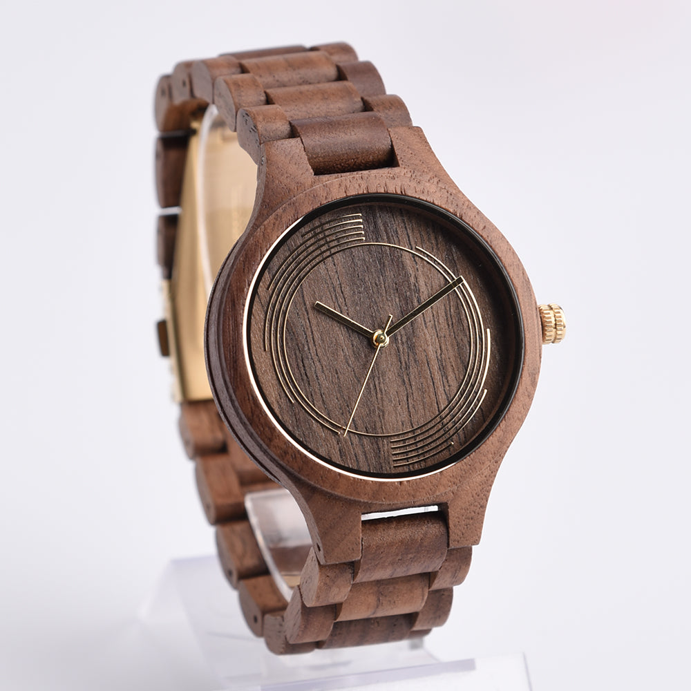 DWG Fashion Classic Movt Black Walnut Wood Watch Quartz Women Luxury Men Watch Solid Wooden Hand Clock Tree Strap with a box