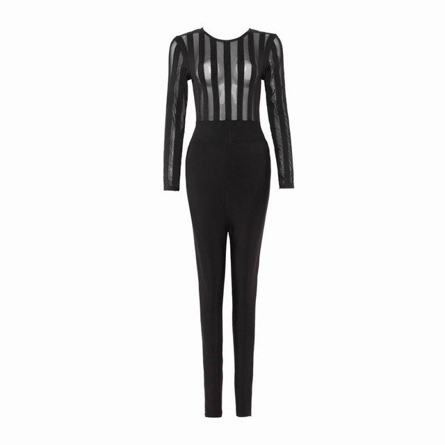 Sexy Long Sleeve Mesh Celebrity Designer Fashion Jumpsuit