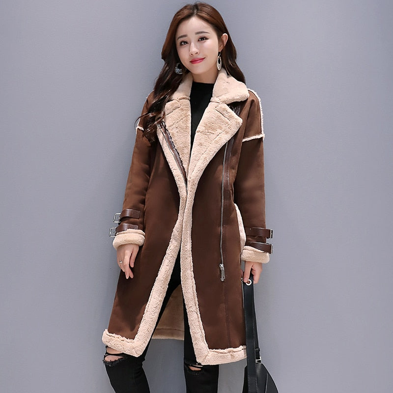 Wool  Thick Warm  Suede Leather Coat