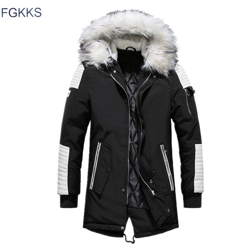 Cotton Thick  Coats Fur Collar Men's Parkas
