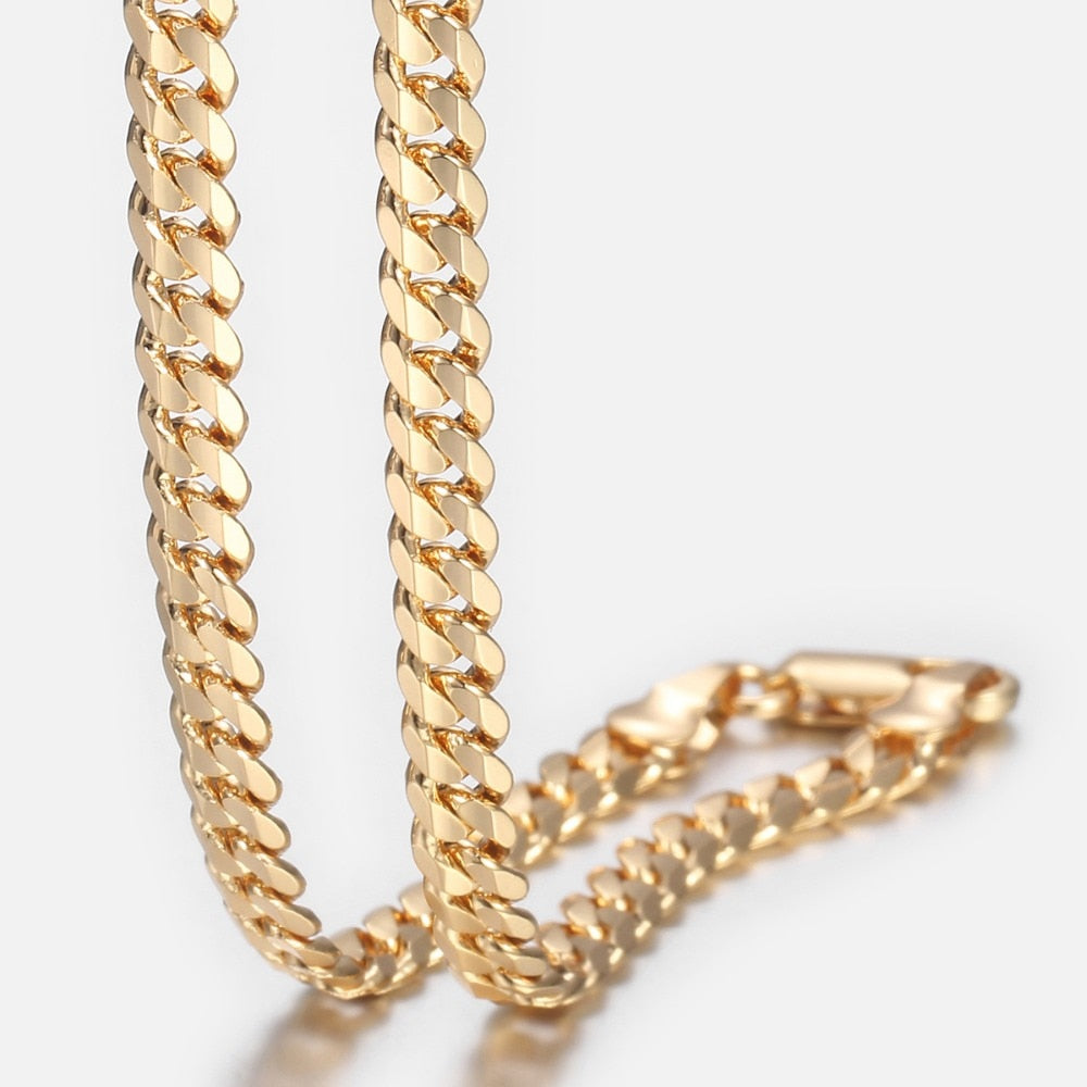 Trendsmax Men's Cuban Link Chain Necklace Gold Filled Chain Necklace Gift For Men Hiphop Jewelry 4.5mm 50cm 60cm KGN438