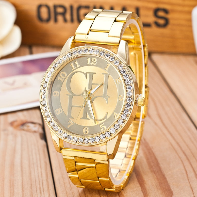 2019  Luxury Crystal Gold Stainless Steel Wristwatch
