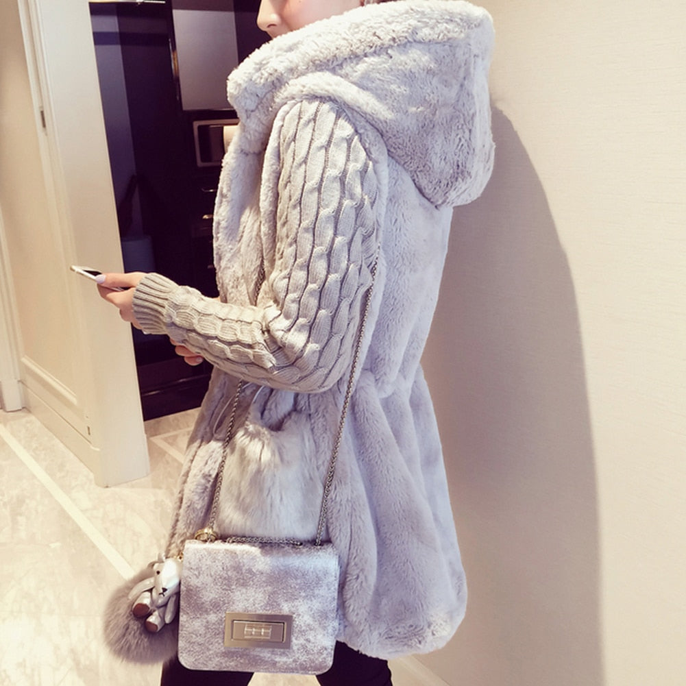 Classic Knitted Sweater Patchwork Plush Thick Hooded Outerwear Coat