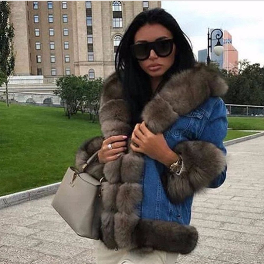Russian Style Female Denim Parka with Real Fox Fur Collar