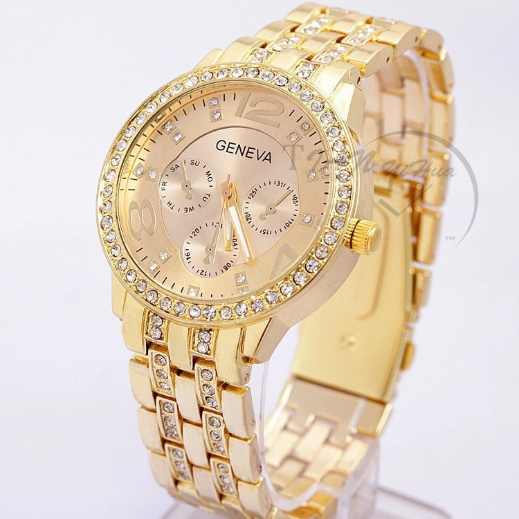 2019 New Famous Brand Women Gold Geneva Stainless Steel Quartz Watch Military Crystal Casual Analog Watches Relogio Feminino Hot